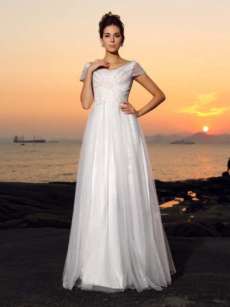 A-Line/Princess Off-the-Shoulder Short Sleeves Floor-Length Beading Tulle Wedding Dresses