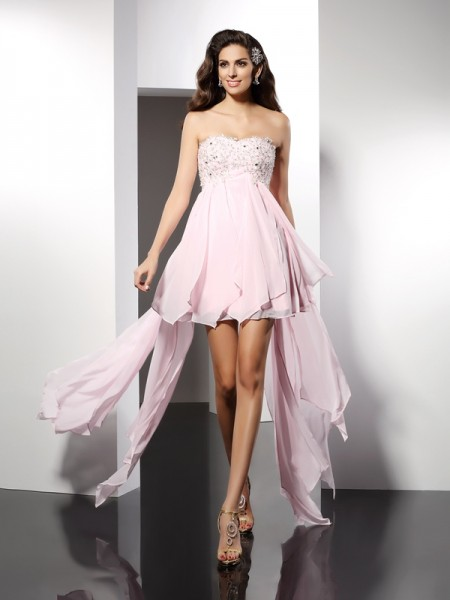 A-Line/Princess Sweetheart Sleeveless Asymmetrical Applique Chiffon Dresses