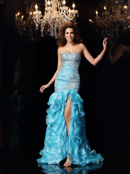 Trumpet/Mermaid Sleeveless Sweetheart Asymmetrical Beading Organza Dresses