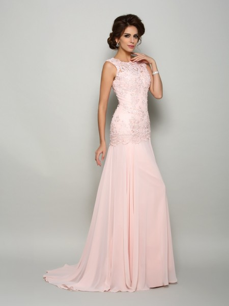 Trumpet/Mermaid Scoop Sleeveless Sweep/Brush Train Applique Chiffon Mother of the Bride Dresses
