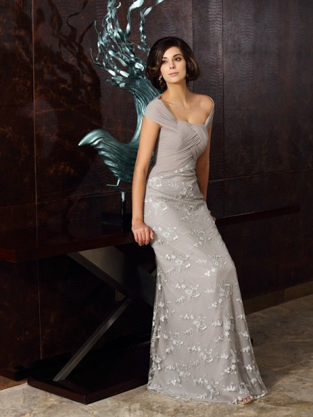 A-Line/Princess Sleeveless Off-the-Shoulder Floor-Length Applique Chiffon Mother of the Bride Dresses