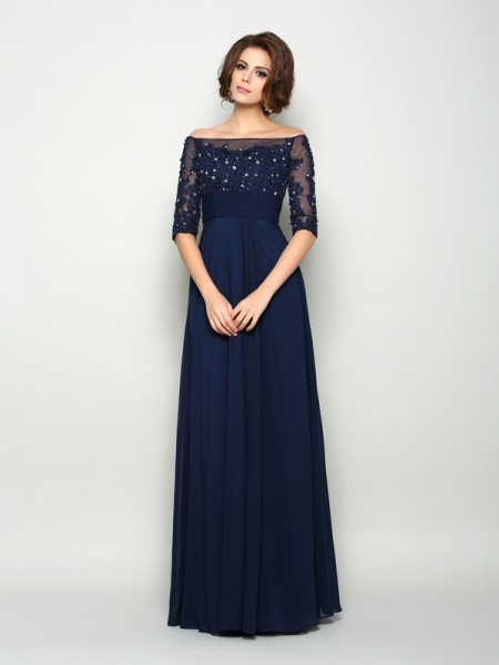 A-Line/Princess Off-the-Shoulder 1/2 Sleeves Floor-Length Beading Chiffon Mother of the Bride Dresses