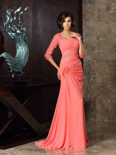 Trumpet/Mermaid 1/2 Sleeves Sweetheart Sweep/Brush Train Chiffon Mother of the Bride Dresses