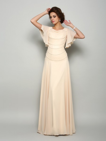 A-Line/Princess Square Short Sleeves Floor-Length Beading Chiffon Mother of the Bride Dresses