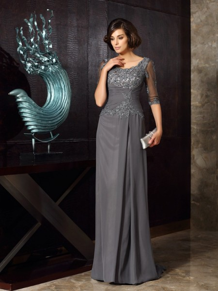 A-Line/Princess 1/2 Sleeves Scoop Floor-Length Applique Chiffon Mother of the Bride Dresses