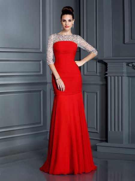 Trumpet/Mermaid 3/4 Sleeves Scoop Floor-Length Beading Chiffon Dresses