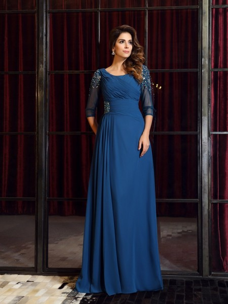 A-Line/Princess Square 1/2 Sleeves Floor-Length Ruched Chiffon Dresses