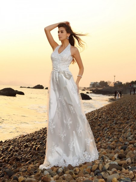 A-Line/Princess Sleeveless Halter Chapel Train Sash/Ribbon/Belt Lace Wedding Dresses