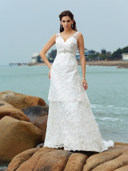 A-Line/Princess Straps Sleeveless Chapel Train Applique Satin Wedding Dresses