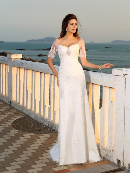 Sheath/Column Short Sleeves Sweetheart Floor-Length Applique Satin Wedding Dresses