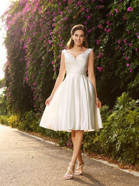 A-Line/Princess Sleeveless V-neck Tea-Length Beading Satin Wedding Dresses