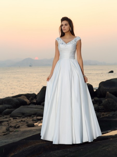 A-Line/Princess V-neck Sleeveless Floor-Length Applique Taffeta Wedding Dresses