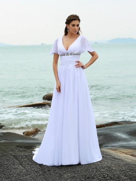 A-Line/Princess Short Sleeves V-neck Court Train Ruffles Chiffon Wedding Dresses