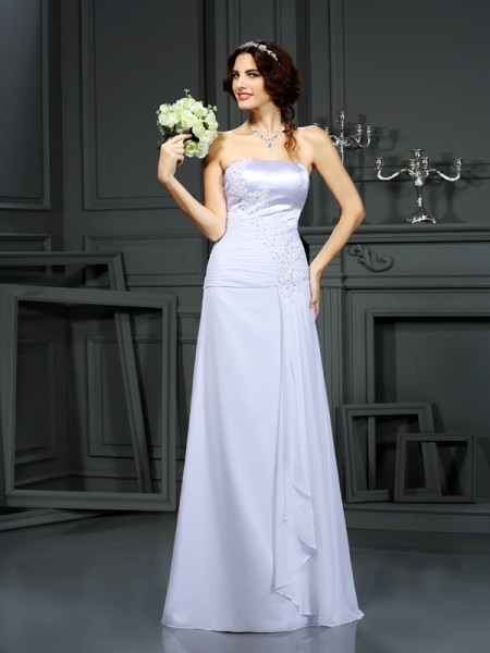 Sheath/Column Strapless Sleeveless Sweep/Brush Train Beading Chiffon Wedding Dresses