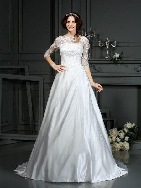 A-Line/Princess Bateau 1/2 Sleeves Court Train Lace Satin Wedding Dresses