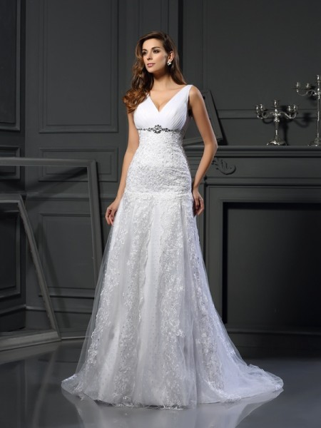 A-Line/Princess Sleeveless V-neck Chapel Train Applique Satin Wedding Dresses