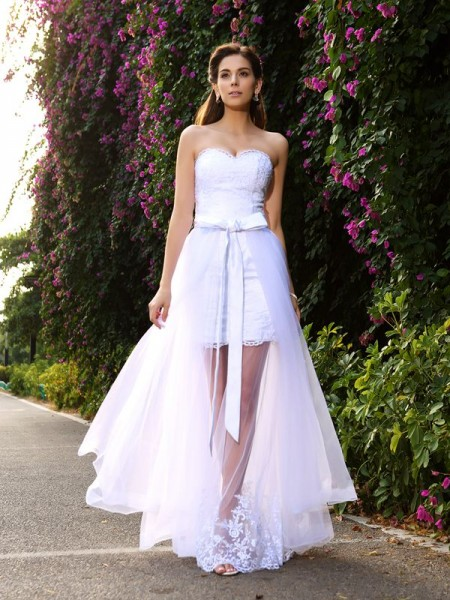 Trumpet/Mermaid Sweetheart Sleeveless Floor-Length Applique Tulle Wedding Dresses
