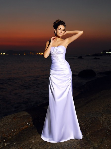 Trumpet/Mermaid Sleeveless Sweetheart Chapel Train Satin Wedding Dresses