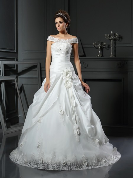 Ball Gown Off-the-Shoulder Sleeveless Chapel Train Hand-Made Flower Satin Wedding Dresses