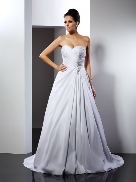 A-Line/Princess Sleeveless Sweetheart Cathedral Train Ruffles Satin Wedding Dresses