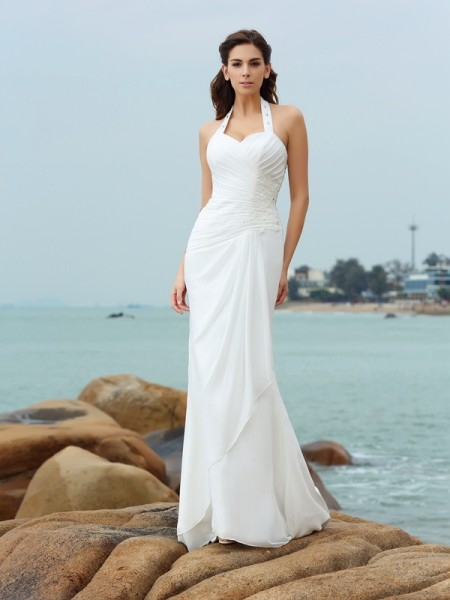 Sheath/Column Halter Sleeveless Court Train Pleats Chiffon Wedding Dresses