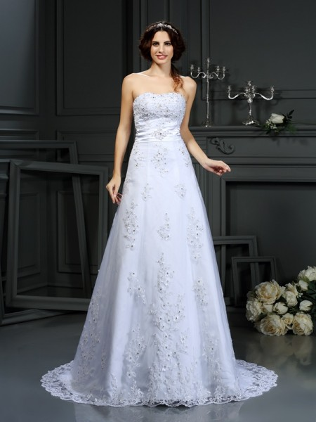 A-Line/Princess Sleeveless Strapless Court Train Applique Satin Wedding Dresses