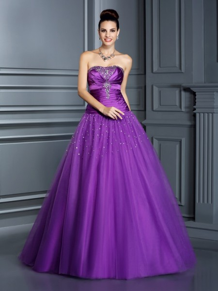 Ball Gown Sleeveless Strapless Floor-Length Taffeta Dresses