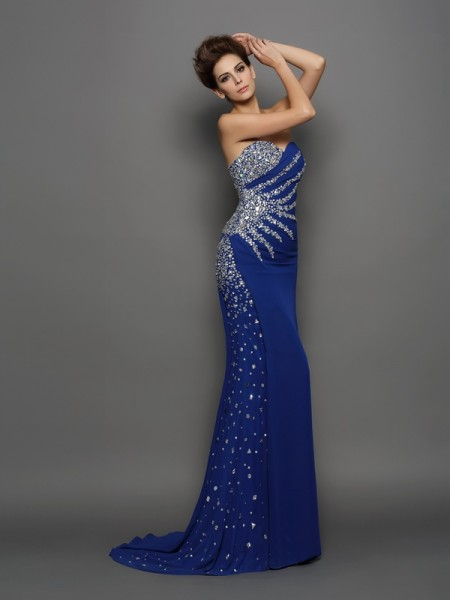 Trumpet/Mermaid Sleeveless Sweetheart Court Train Rhinestone Chiffon Dresses