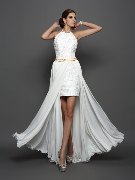 A-Line/Princess Sleeveless High Neck Chapel Train Lace Chiffon Wedding Dresses