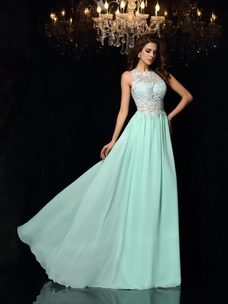 A-Line/Princess Sleeveless High Neck Sweep/Brush Train Applique Chiffon Dresses