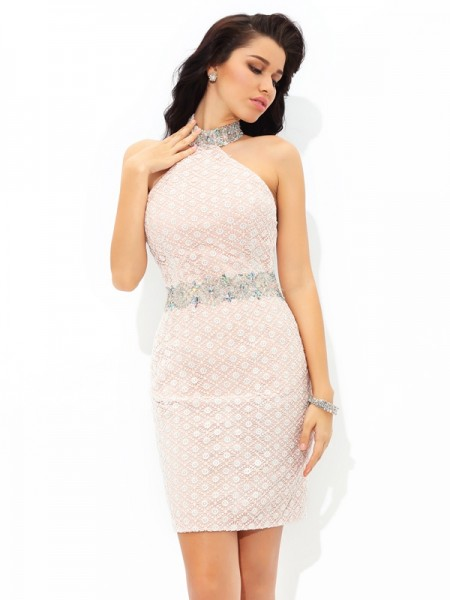 Sheath/Column Halter Sleeveless Short/Mini Beading Satin Dresses