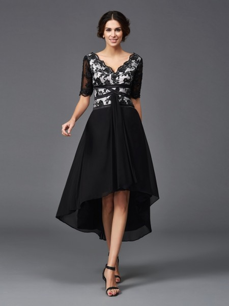 A-Line/Princess V-neck 1/2 Sleeves Asymmetrical Lace Chiffon Dresses