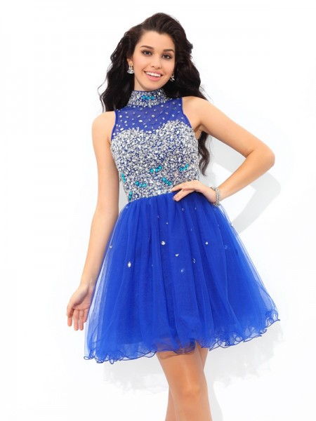 A-Line/Princess Sleeveless High Neck Short/Mini Beading Net Dresses
