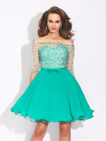 A-Line/Princess 1/2 Sleeves Off-the-Shoulder Short/Mini Beading Chiffon Dresses