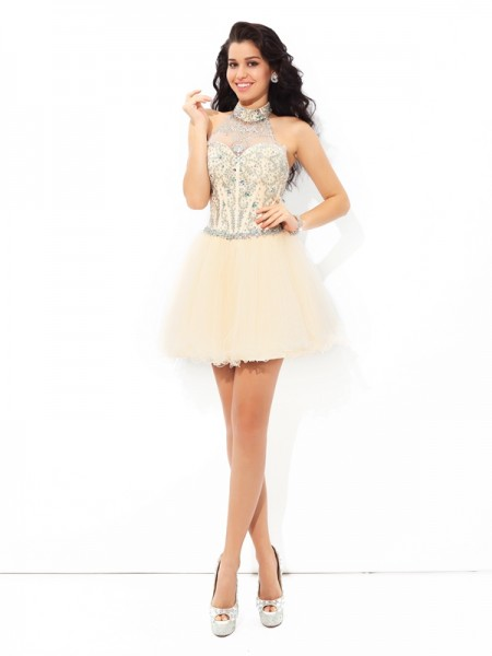 A-Line/Princess Sleeveless Halter Short/Mini Beading Satin Dresses