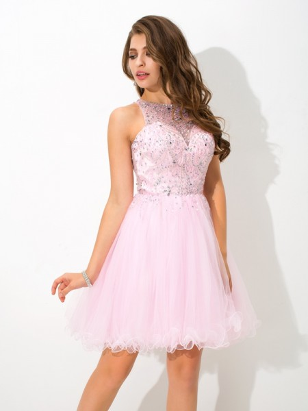 A-Line/Princess Sleeveless Sheer Neck Short/Mini Beading Net Dresses