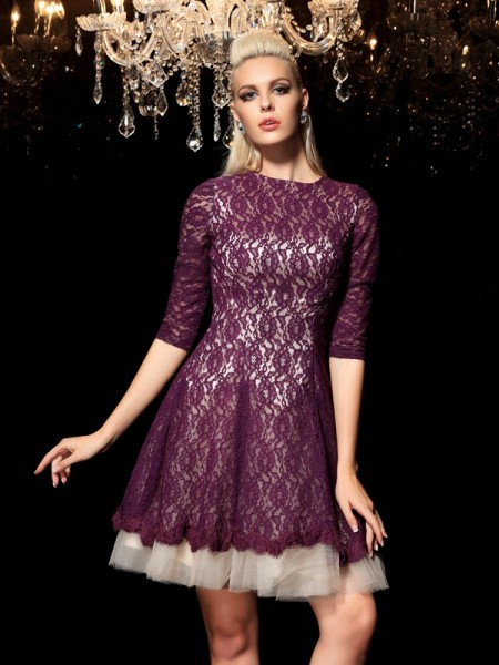 A-Line/Princess Sheer Neck 1/2 Sleeves Short/Mini Lace Lace Dresses