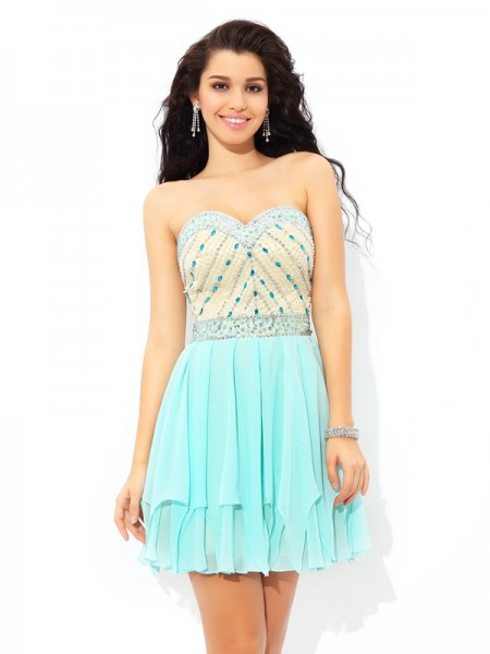 A-Line/Princess Sleeveless Sweetheart Short/Mini Beading Chiffon Dresses