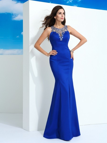 Sheath/Column Sheer Neck Sleeveless Floor-Length Beading Chiffon Dresses