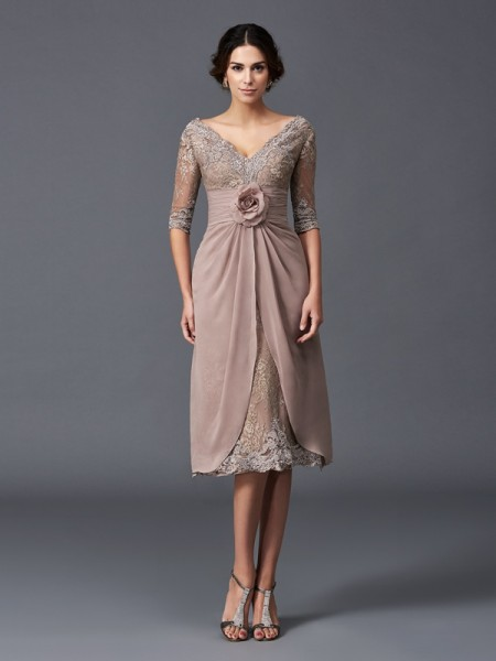 A-Line/Princess V-neck 1/2 Sleeves Tea-Length Hand-Made Flower Lace Mother of the Bride Dresses