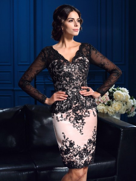 Sheath/Column Long Sleeves V-neck Short/Mini Applique Lace Mother of the Bride Dresses