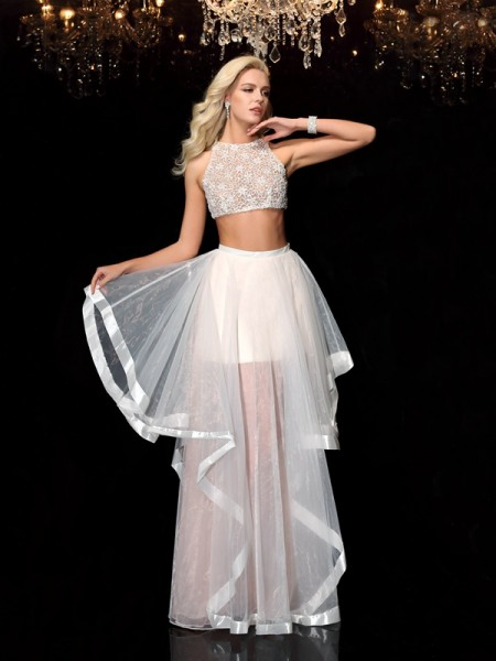 A-Line/Princess Scoop Sleeveless Floor-Length Applique Tulle Two Piece Dresses