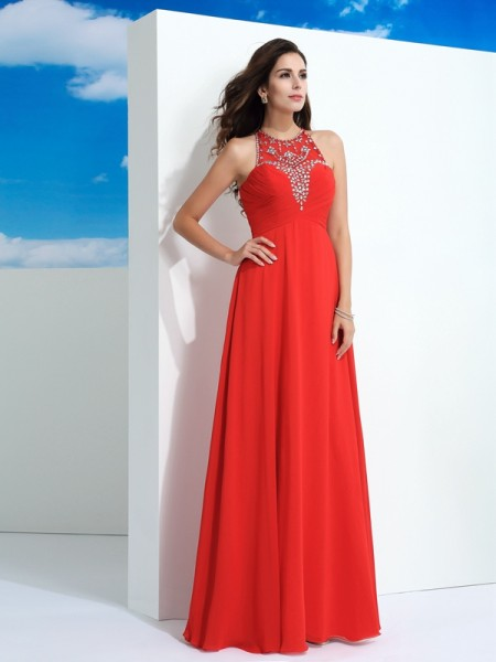 A-Line/Princess Sheer Neck Sleeveless Floor-Length Beading Chiffon Dresses