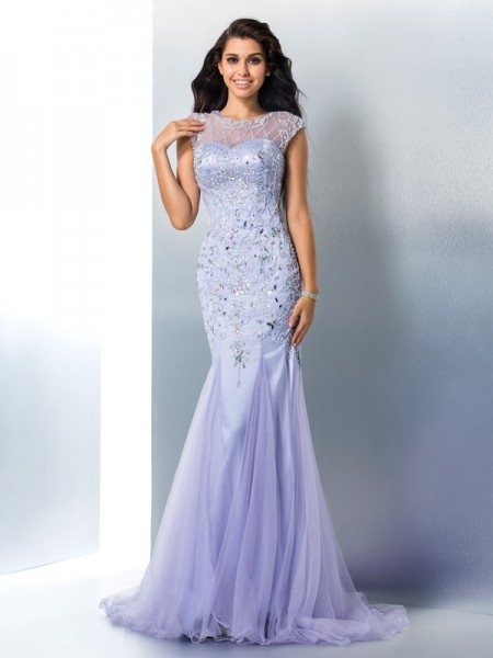 Trumpet/Mermaid Sleeveless Sheer Neck Sweep/Brush Train Beading Satin Dresses