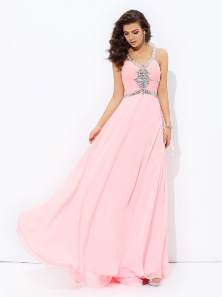 A-Line/Princess Sleeveless Straps Floor-Length Beading Chiffon Dresses