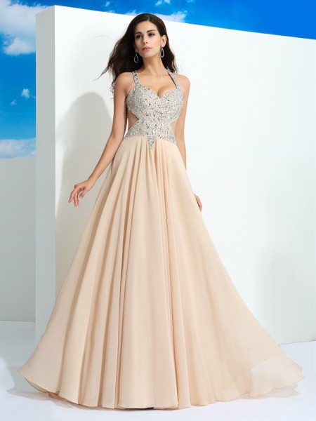 A-Line/Princess Straps Sleeveless Sweep/Brush Train Beading Chiffon Dresses