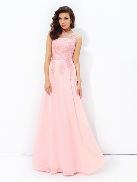 A-Line/Princess Sleeveless Scoop Floor-Length Applique Chiffon Dresses