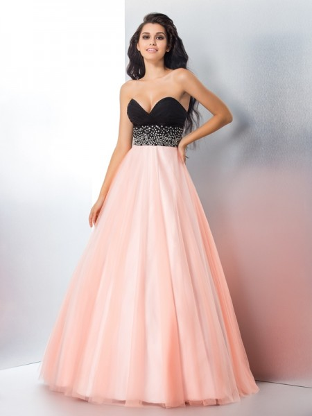 Ball Gown Sweetheart Sleeveless Floor-Length Beading Satin Dresses