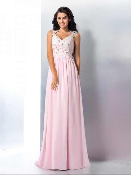 A-Line/Princess V-neck Sleeveless Sweep/Brush Train Applique Chiffon Dresses