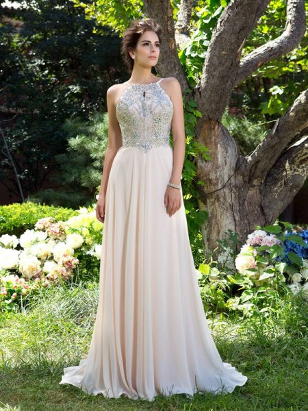 A-Line/Princess Sleeveless Spaghetti Straps Sweep/Brush Train Beading Chiffon Dresses